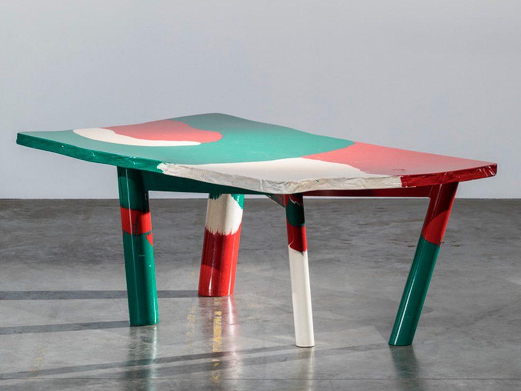 tavolo tricolore resina colata