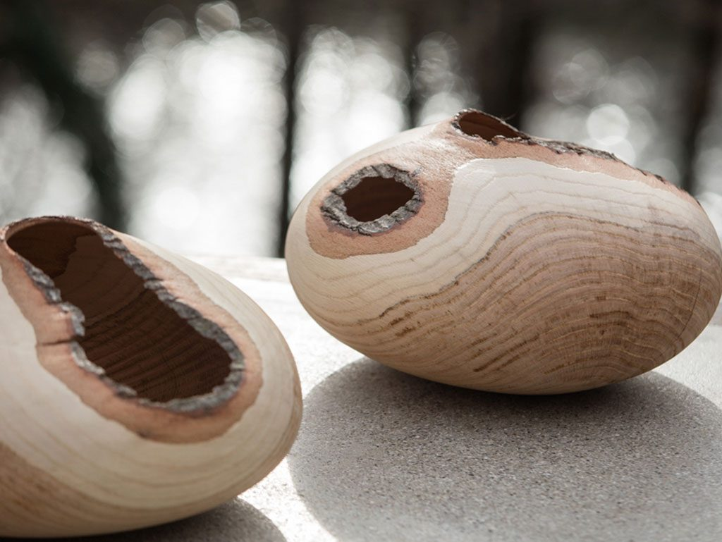 vasi legno naturale bassi tondi