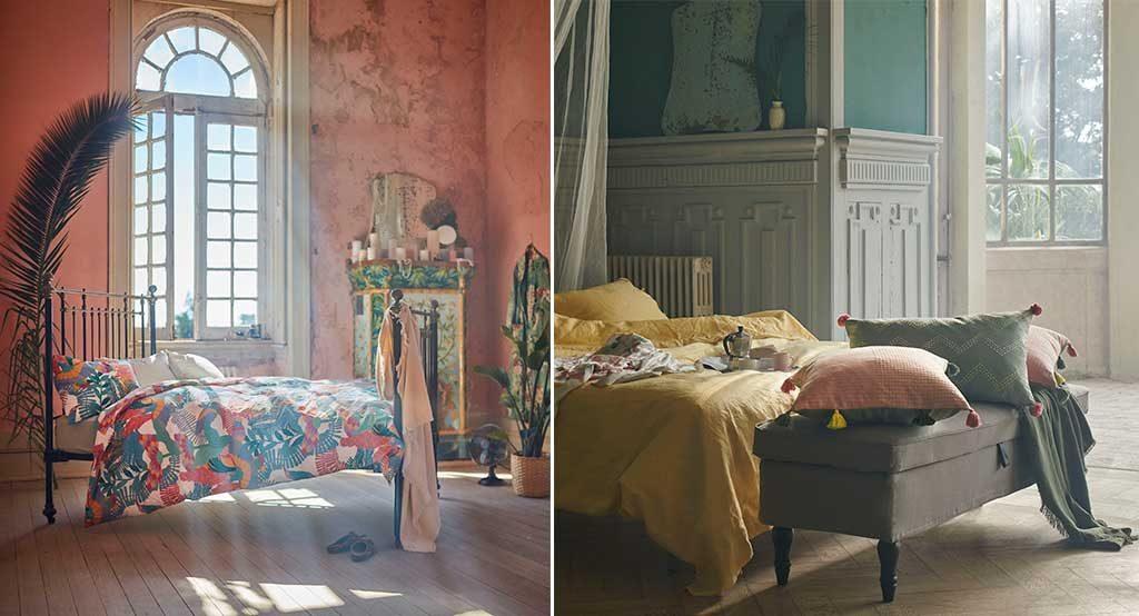 cuscini e lenzuola colorate