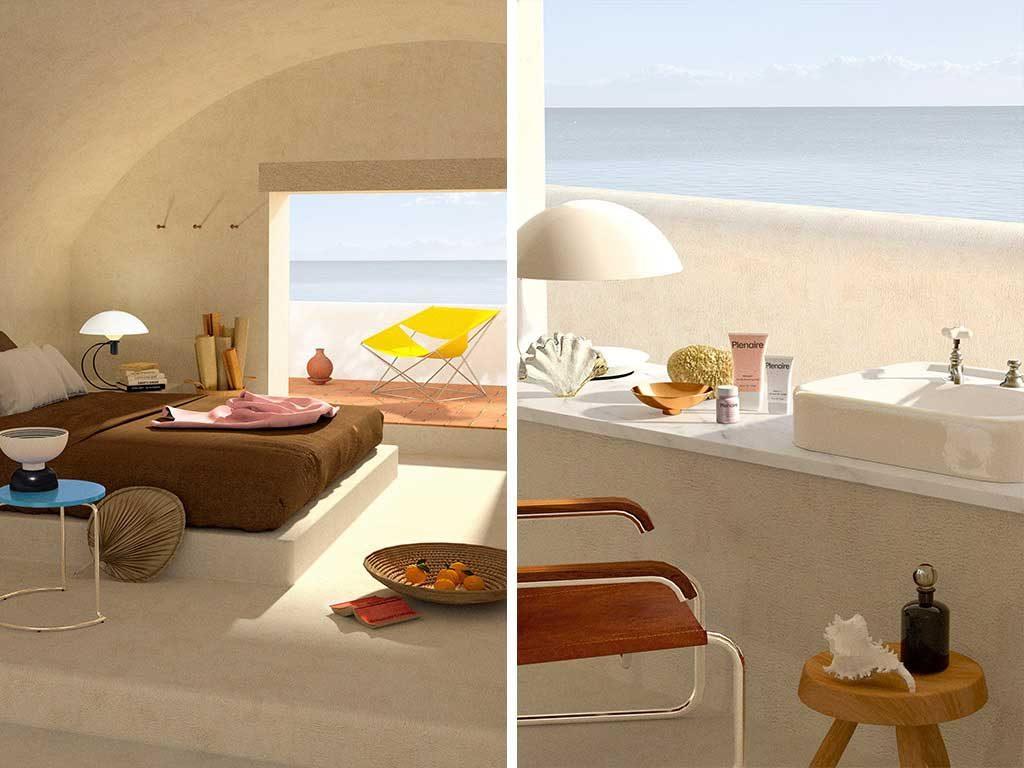 interni camera letto lavabo mare