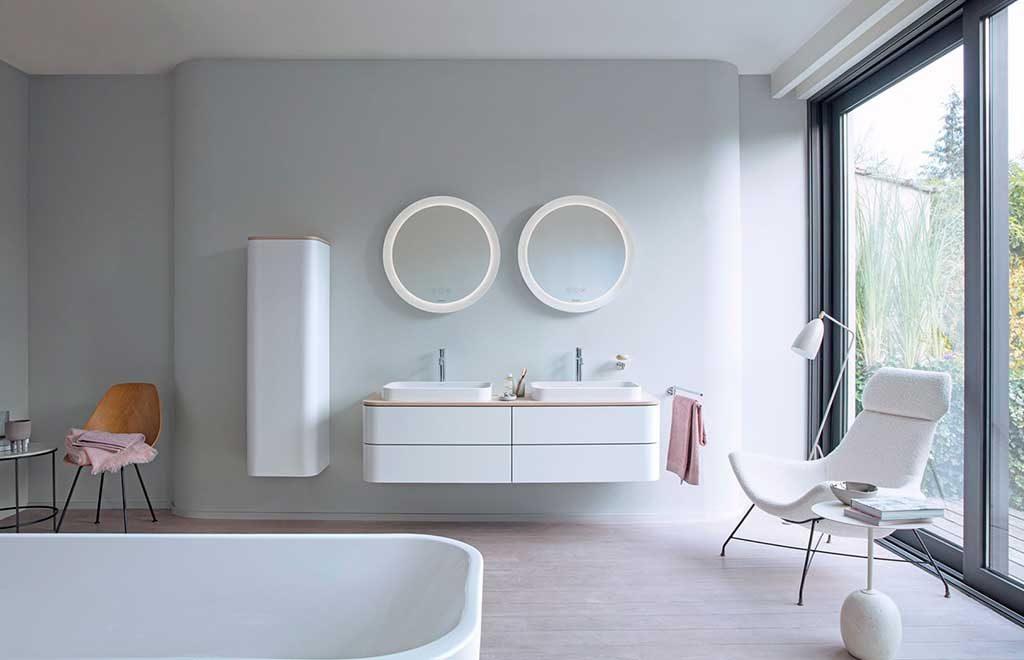 mobile bagno doppio lavabo specchi tondi led