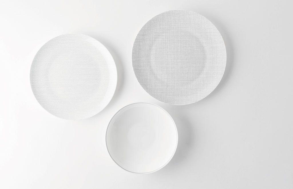 piatti decoro righe e quadri