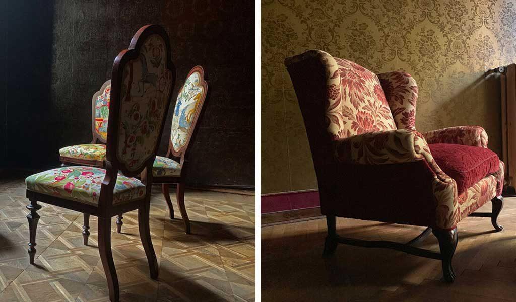 sedie e poltrona restaurate