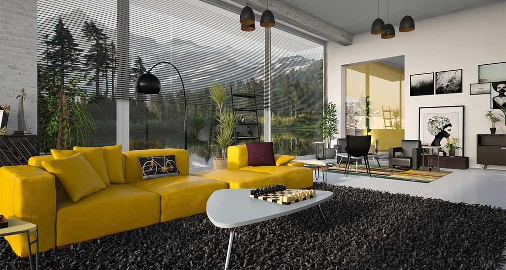divano giallo living