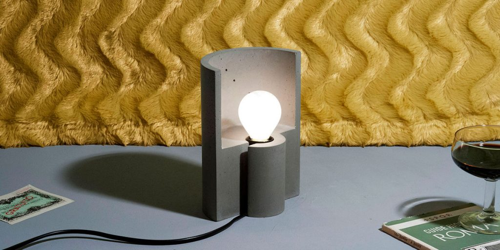 lampada tavolo design cemento
