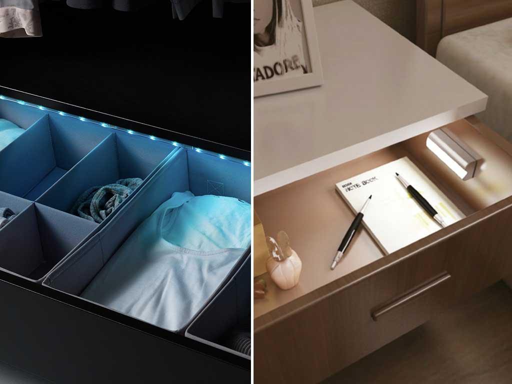 iluminazione cassetto e bordo letto
