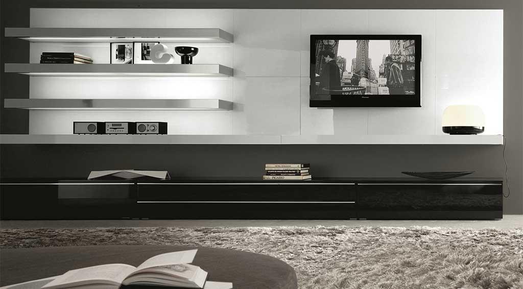 parete tv illuminata