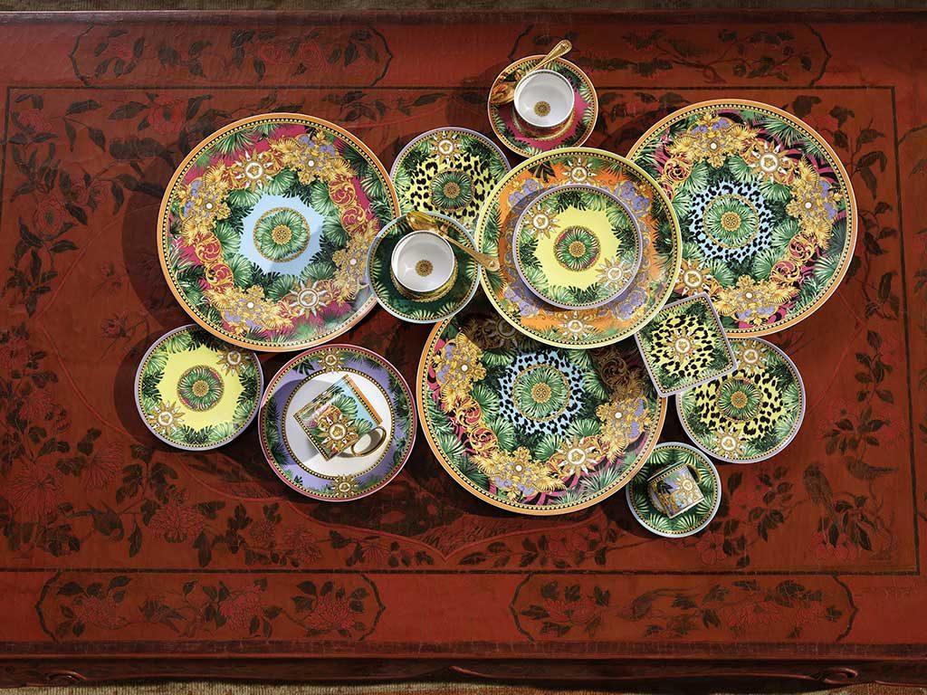 piatti ceramica decoro jungle