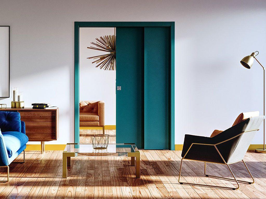 porta scorrevole interno muro blu
