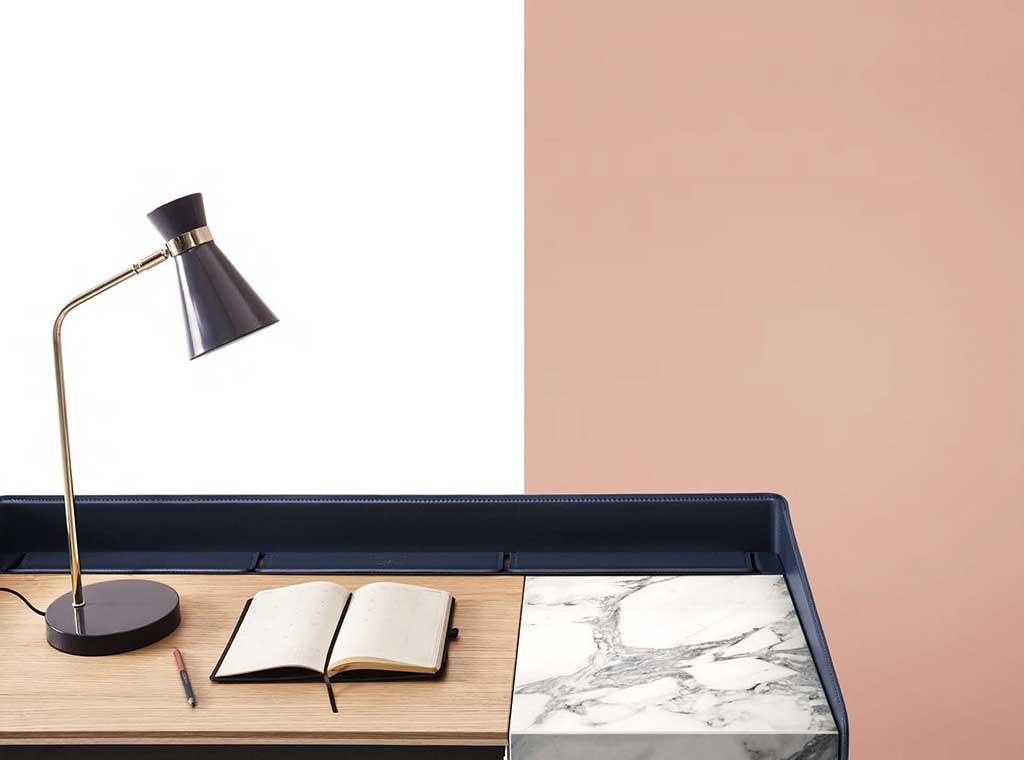 scrivania cuoio legno marmo