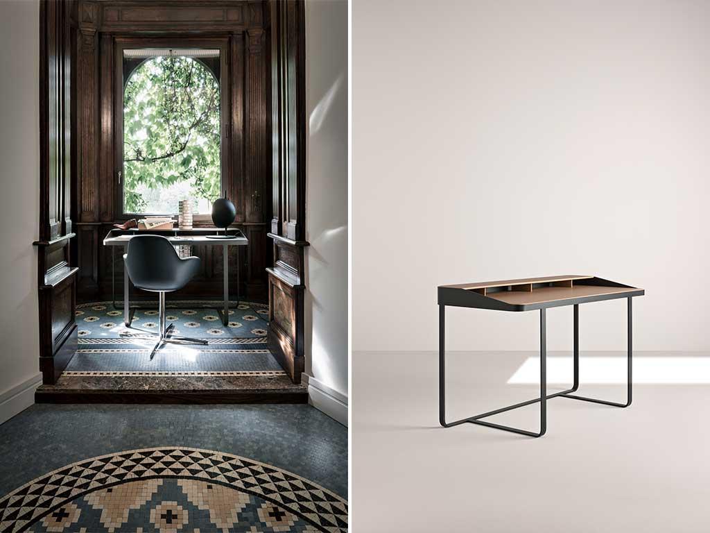 scrivania metallo e legno