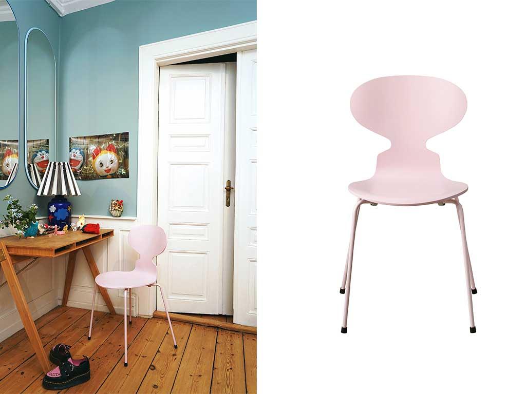 sedia rosa impilabile