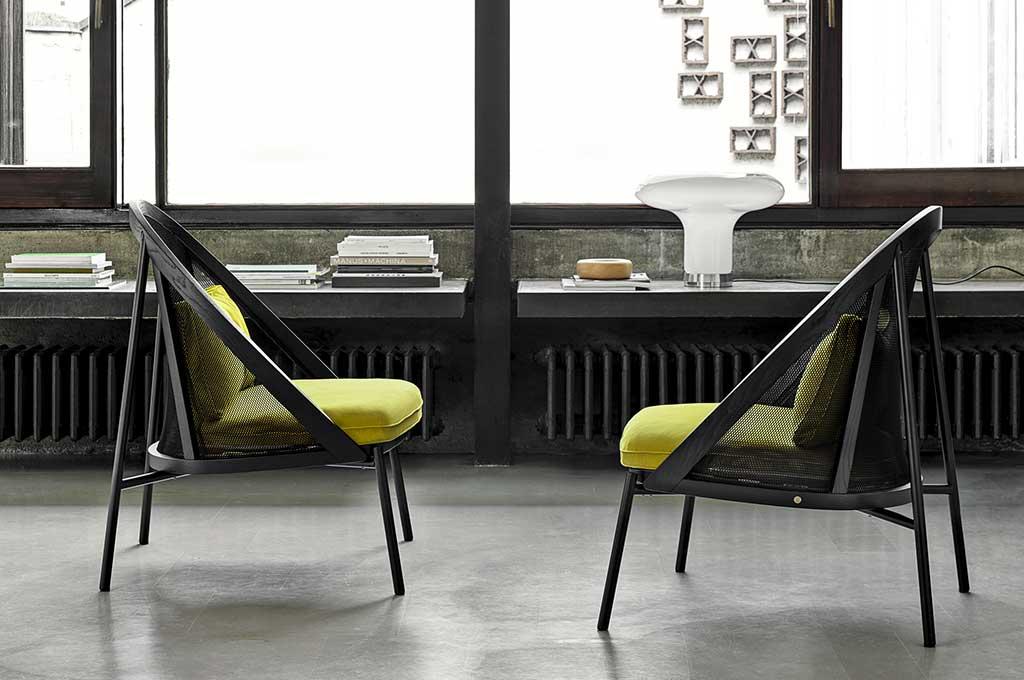 sedie cuscini gialli