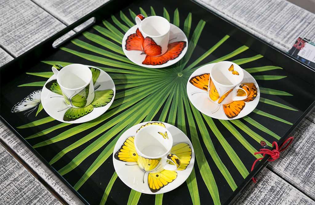 tazzine caffe disegno farfalle