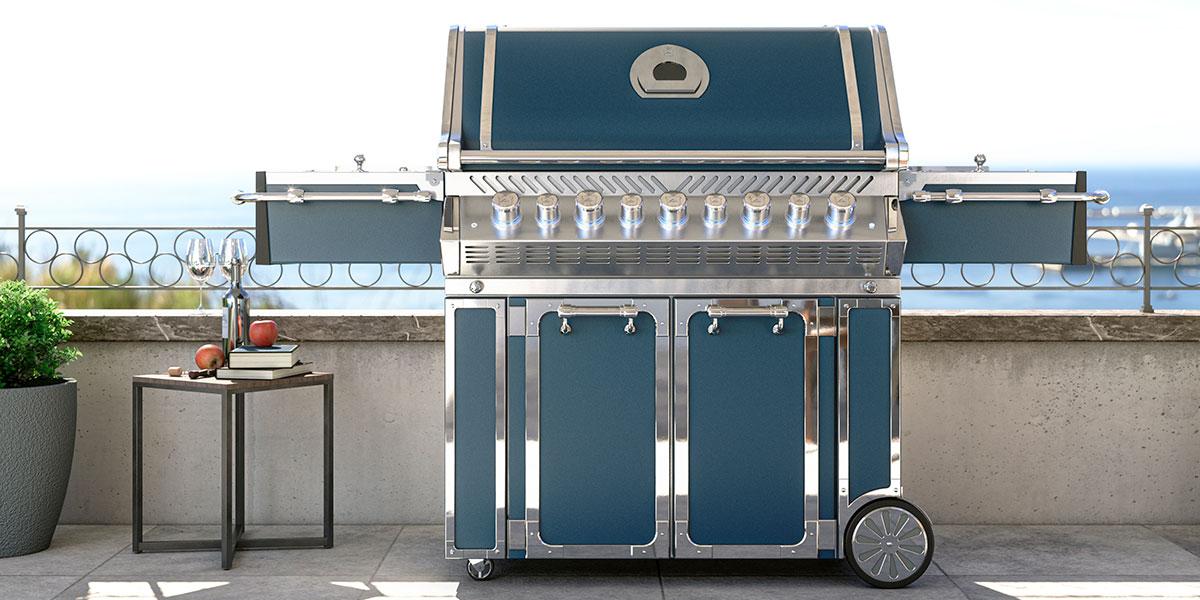 barbecue gas portatile esterno blu