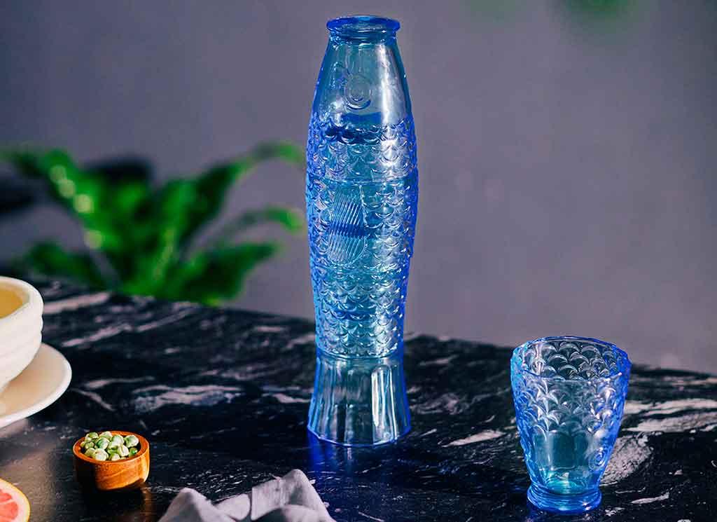 bicchieri vetro blu impilabili