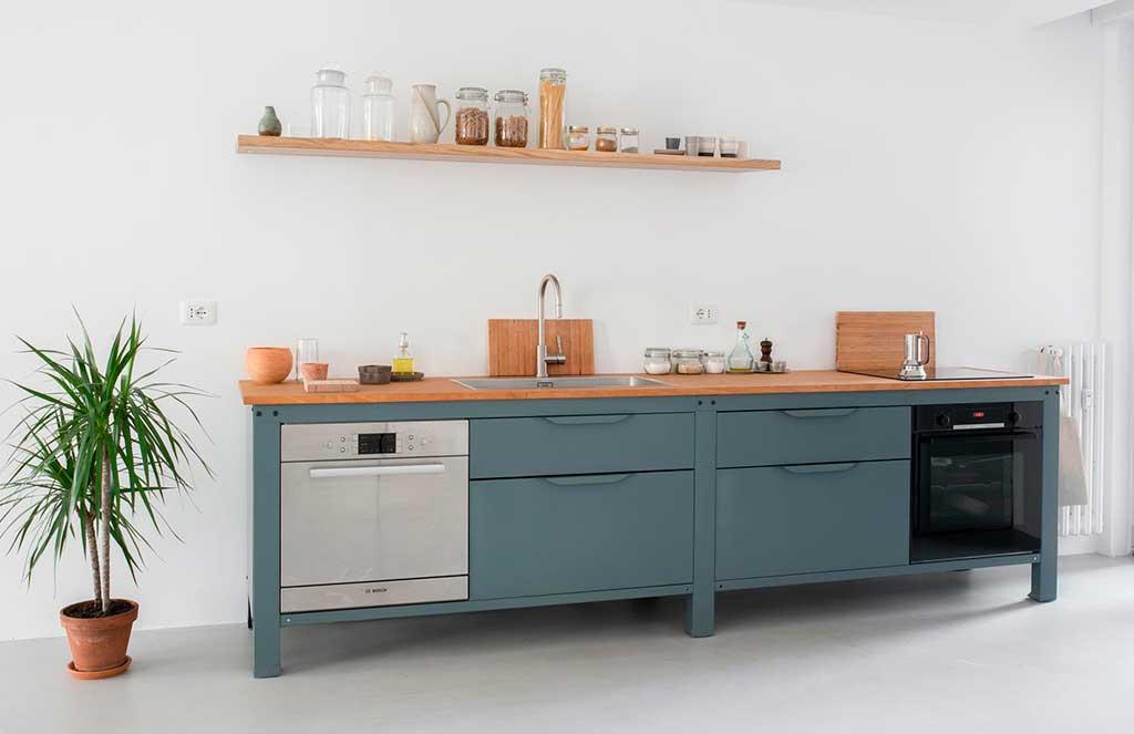 cucina compatta colore grigio