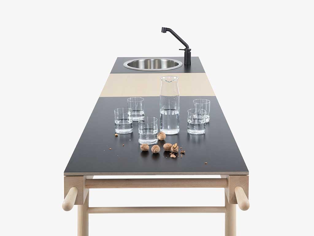 mini cucina free stnding piano legno black