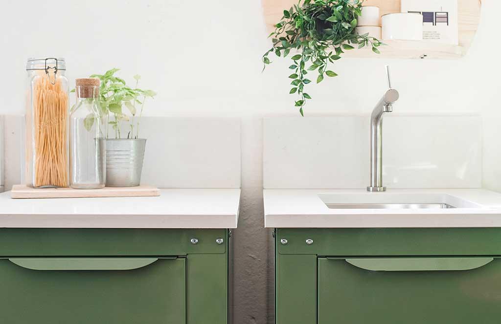 moduli cucina verde metallo verniciato