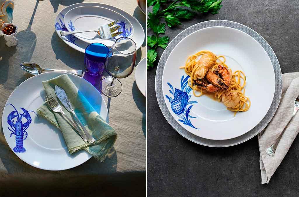 piatti decoro marino blu