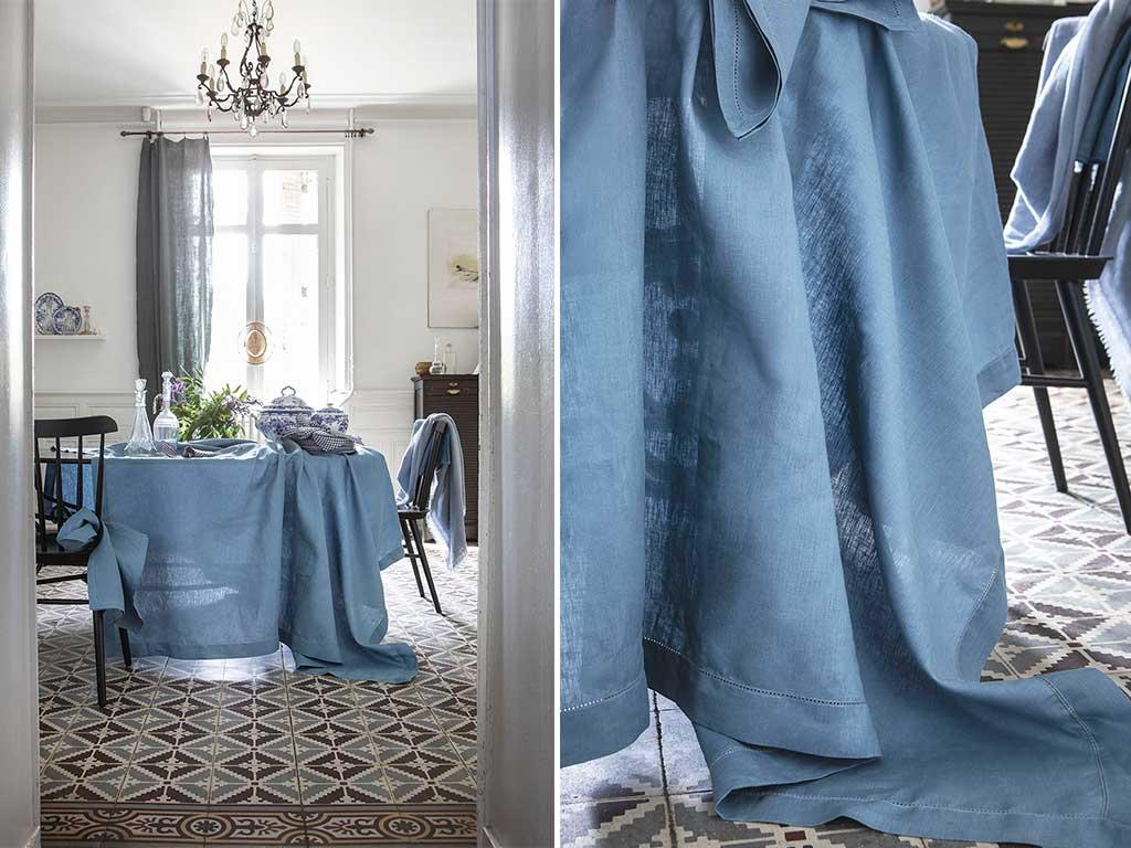 tovaglia lino blu