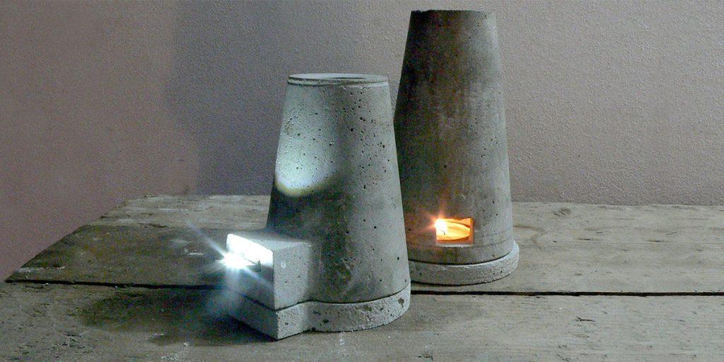 lampada in cemento candela e led