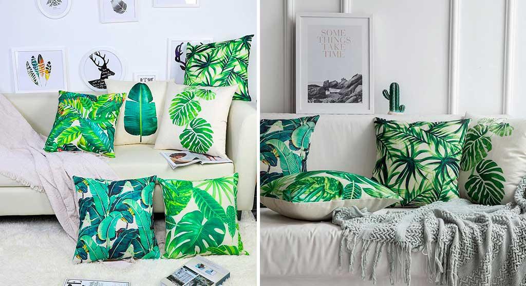 cuscini decoro foglia pianta verde