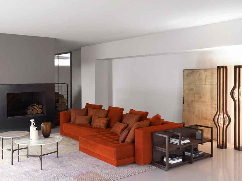 divano angolare arancio