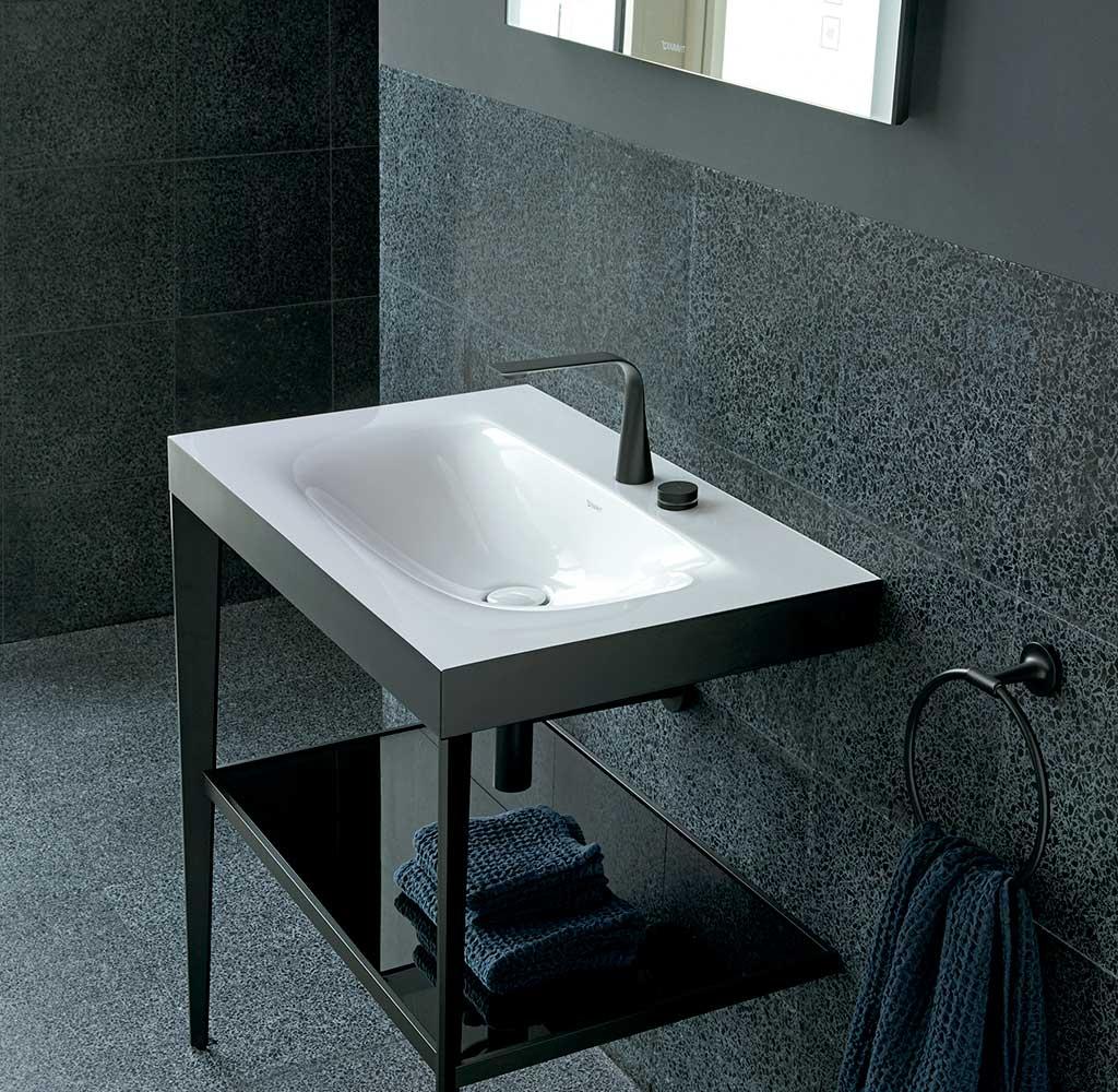 lavabo bagno con struttura nero opaco
