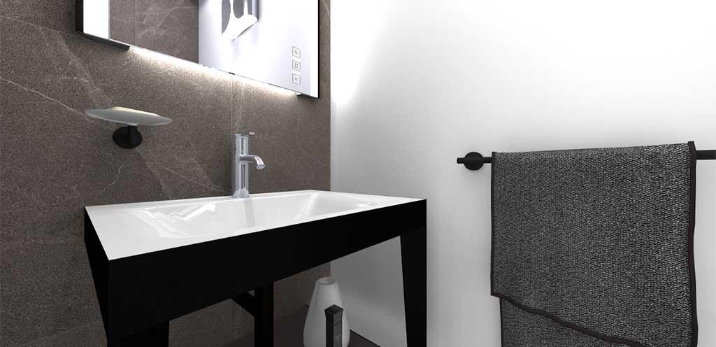 lavabo bagno e specchio led