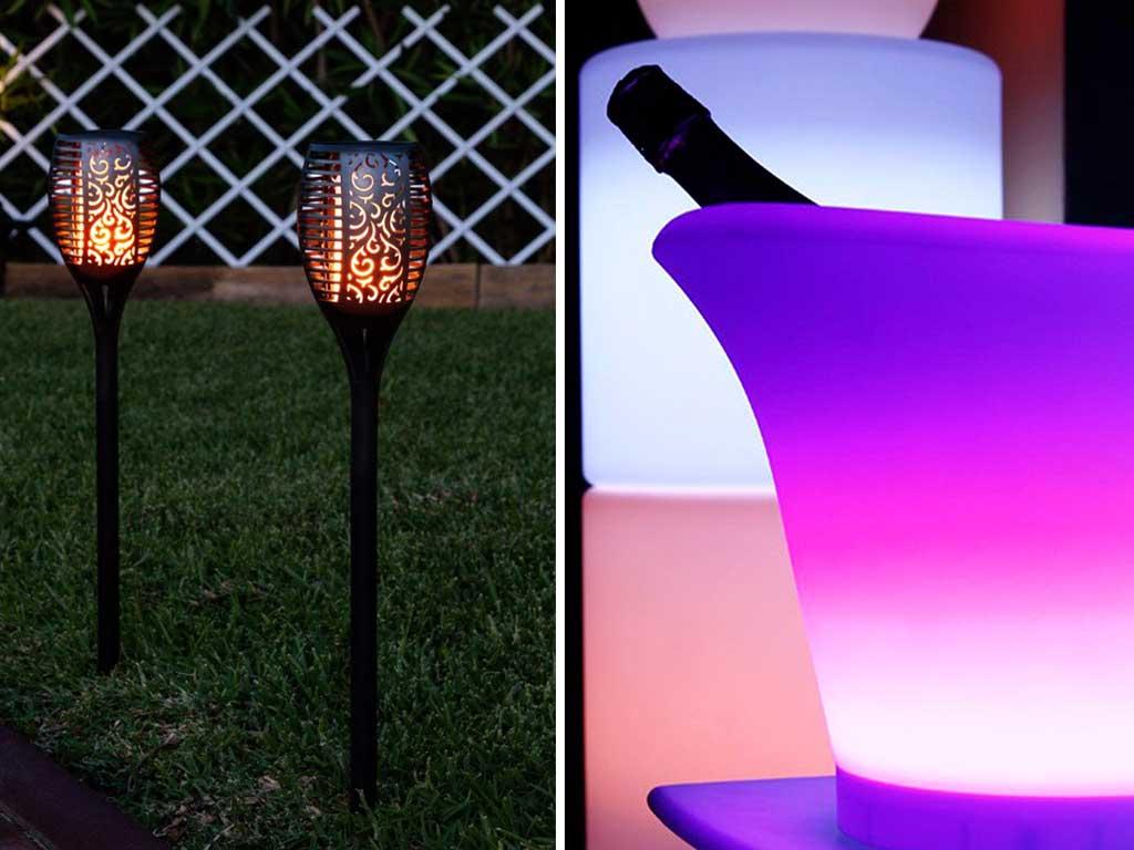 lampade led picchetto e portabottiglie luminoso