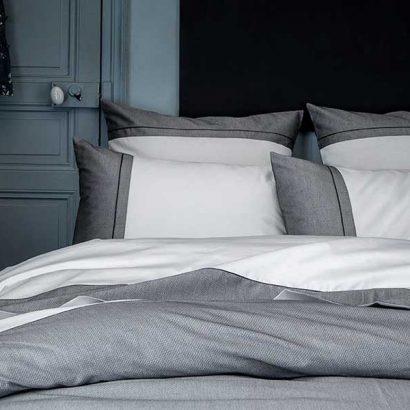 lenzuola matrimoniali bianco grigio