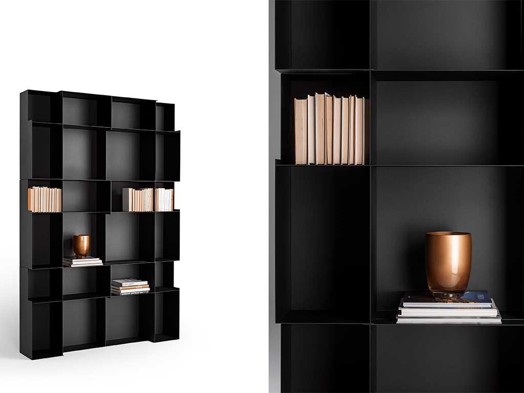 libreria modulare nera