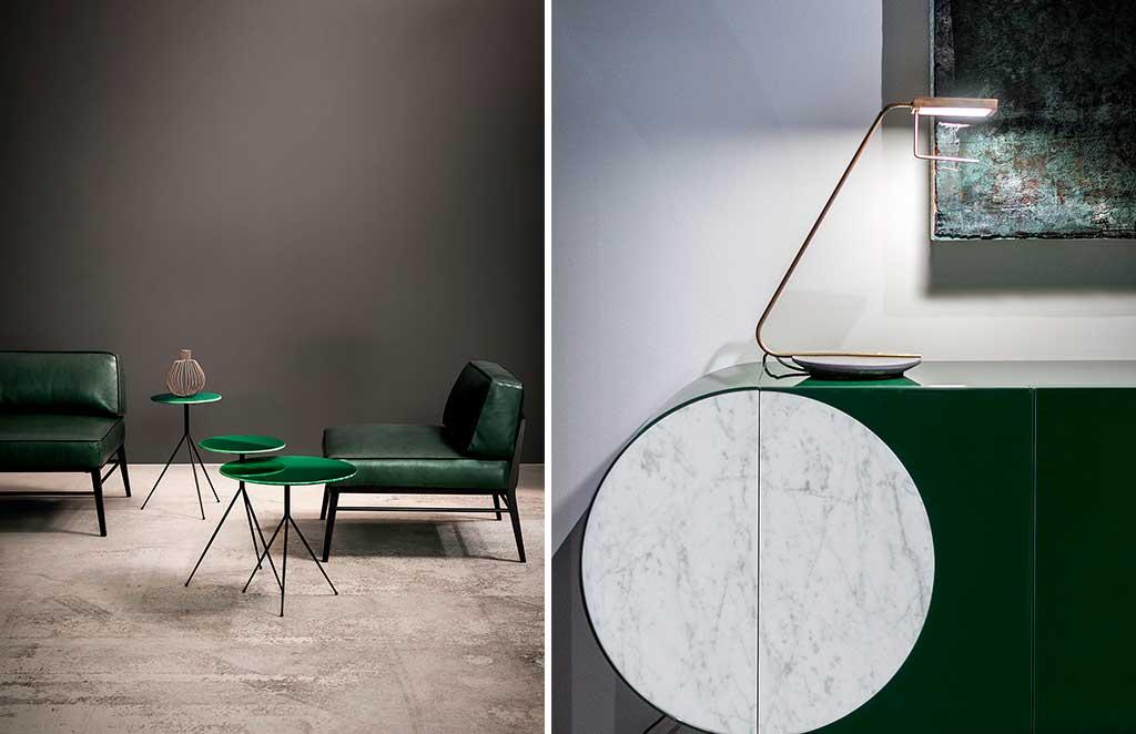 tavolini verdi e mobile laccato verde