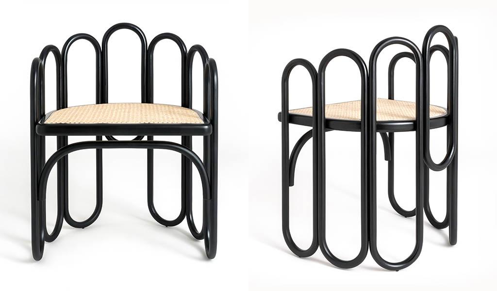 sedia legno massello curvato