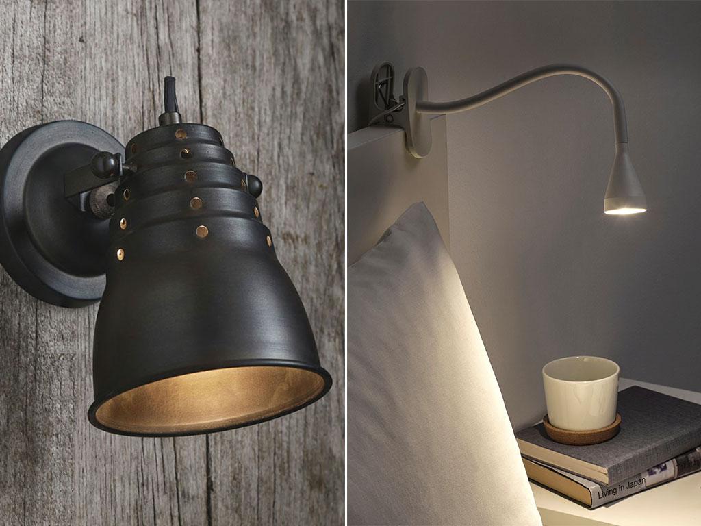 lampada a parete nera e lampada a pinza