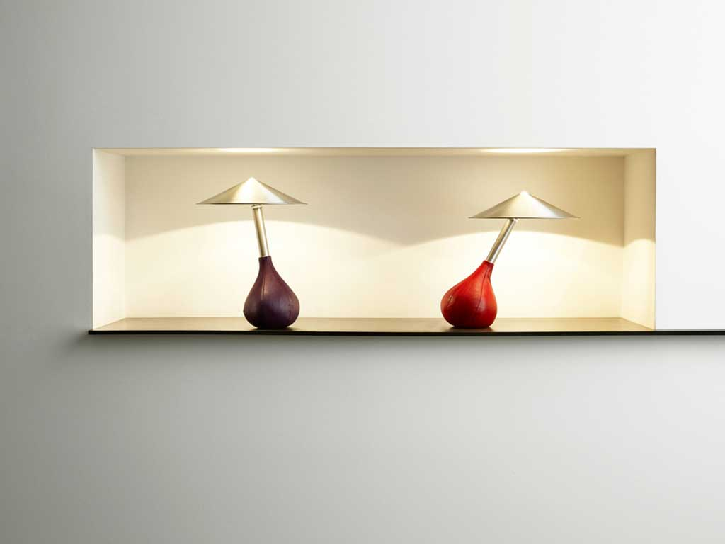 lampada tavolo base pelle