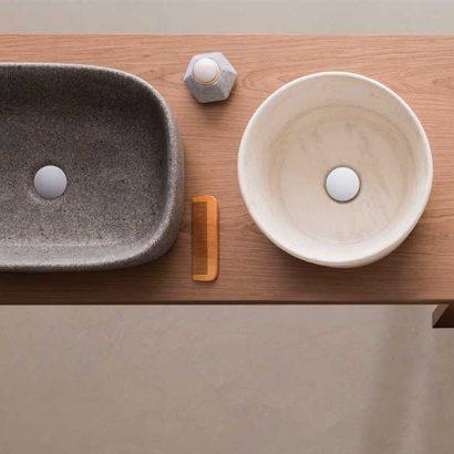 lavabi appoggio effetto travertino e peperino