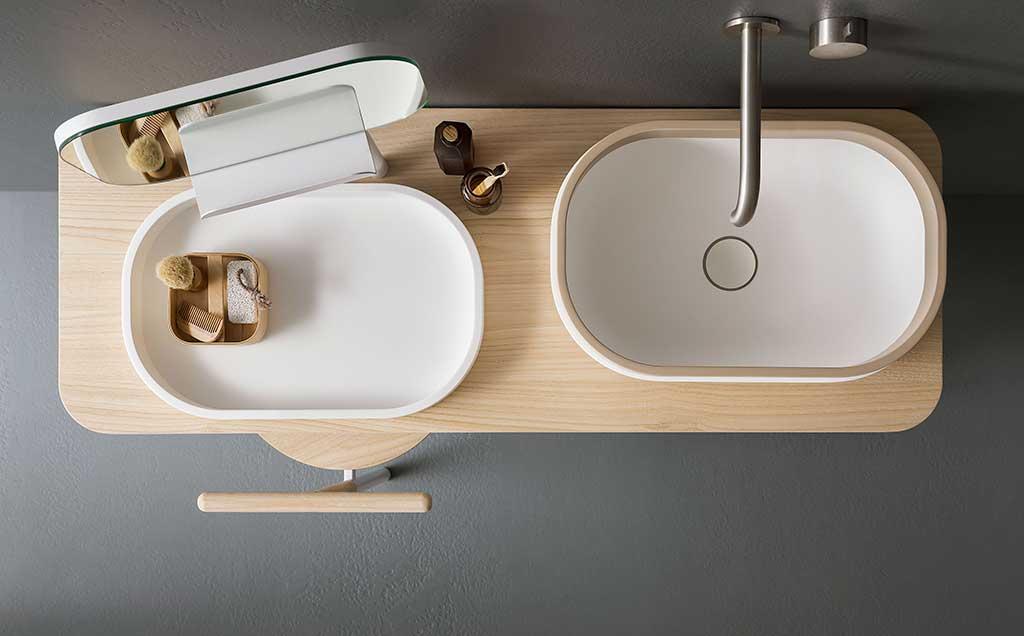 lavabo appoggio piano legno
