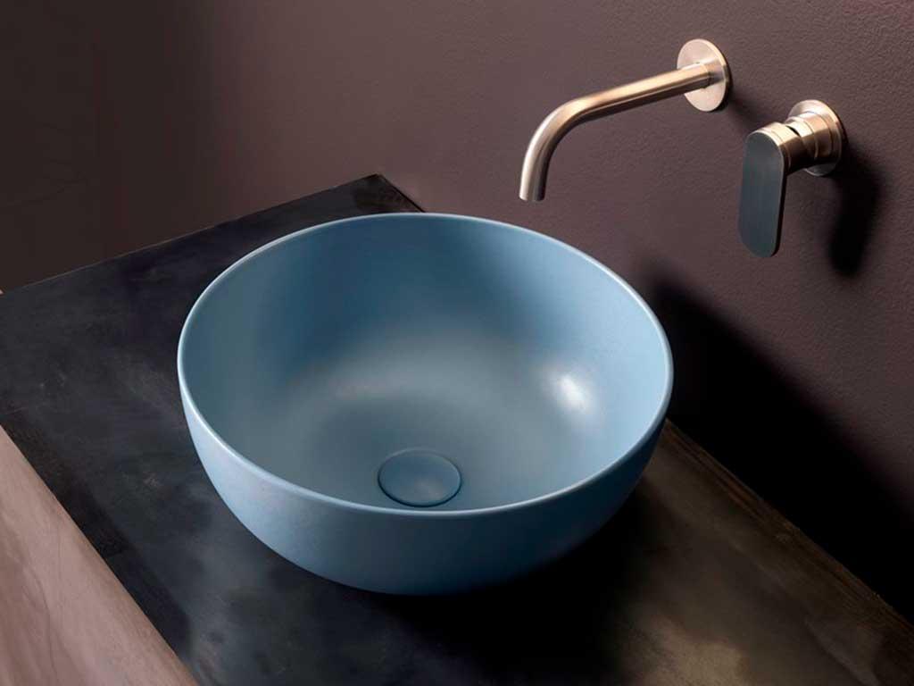 lavabo appoggio rotondo azzurro