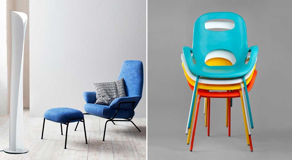sedie impilate colorate e poltrona blu