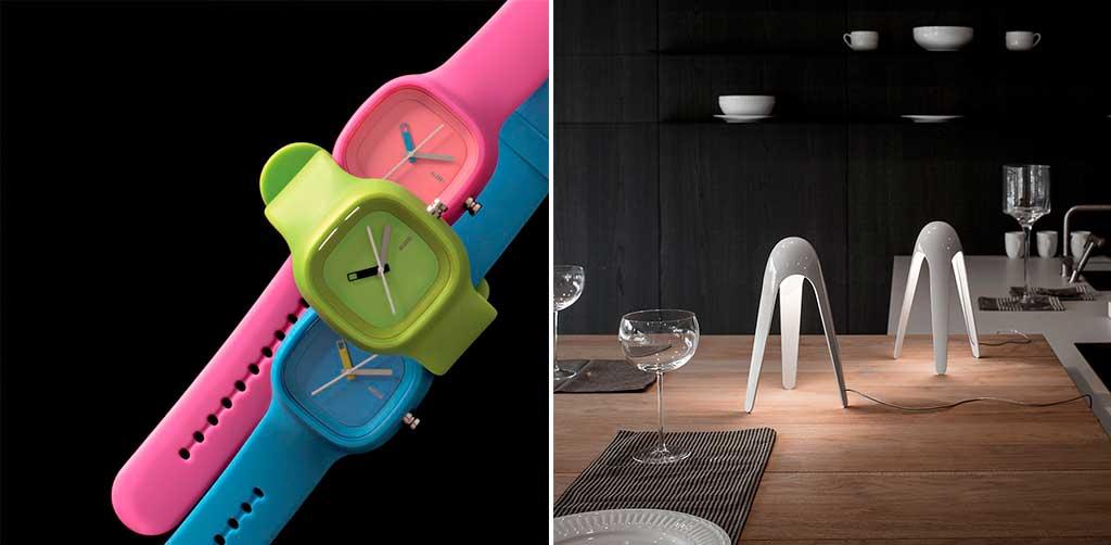 orologi colorati e lampada tavolo