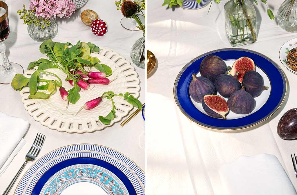 piatti bordo blu