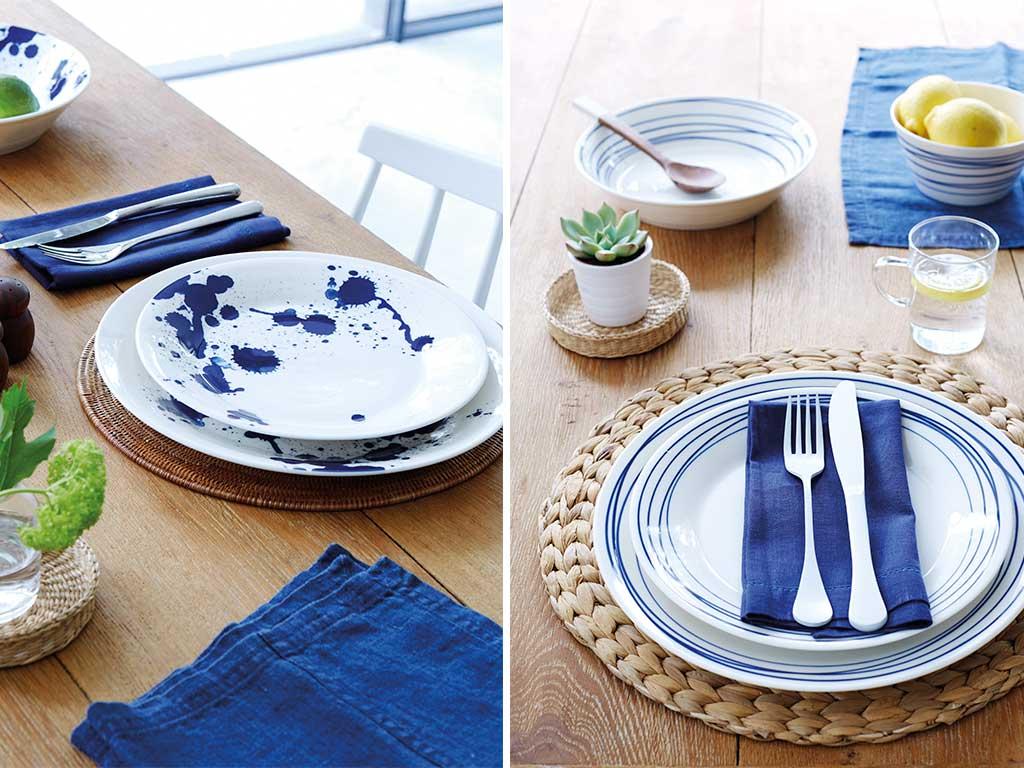 piatti macchie righe blu