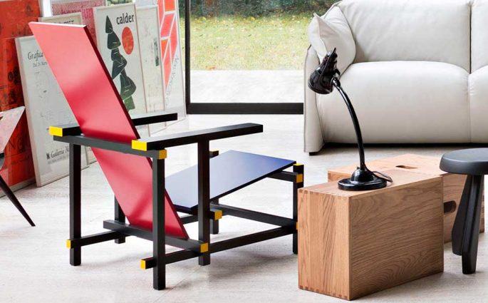 sedia rossa e blu design