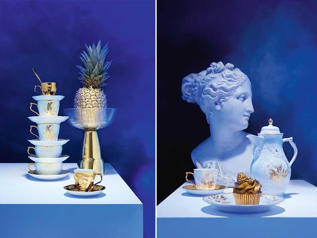 tazze tazzine porcellana decoro oro