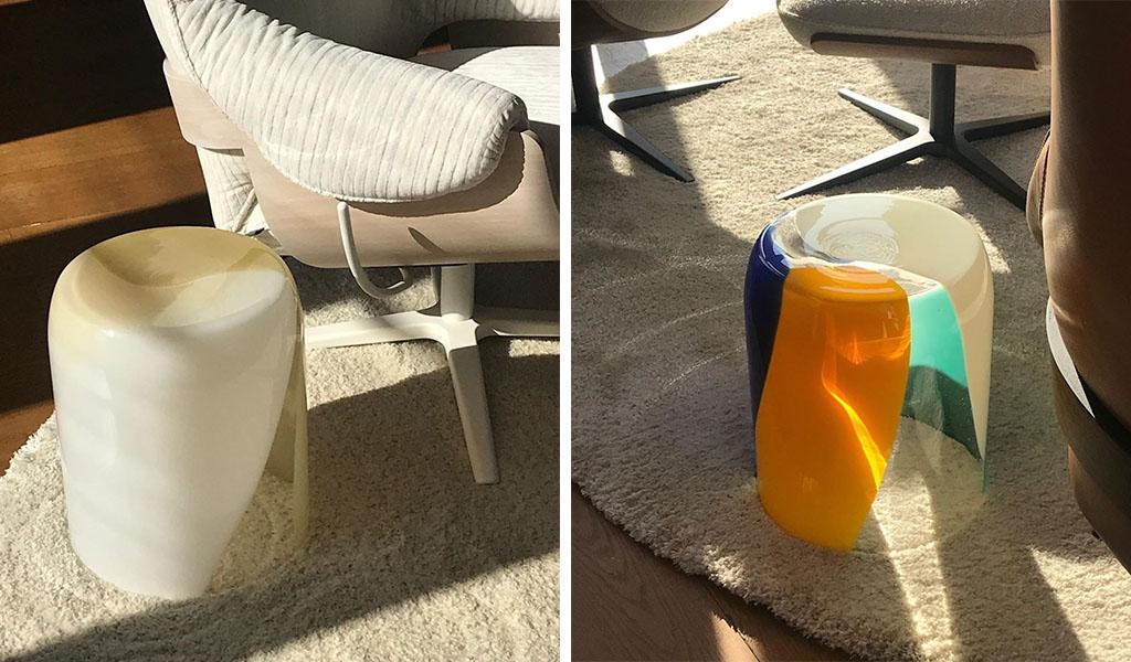 tavolino vetro colorato