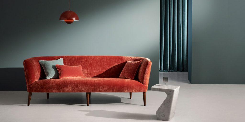 divano cuscini velluto rosso verde