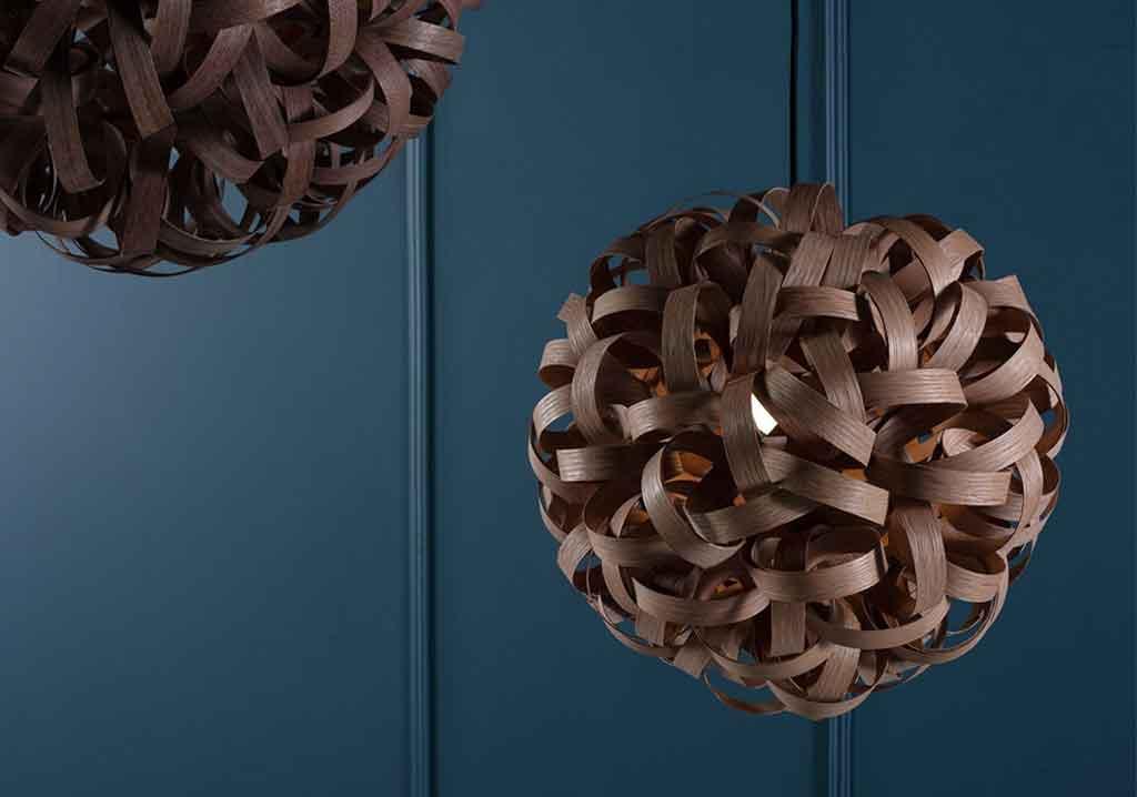 lampadario legno curvato