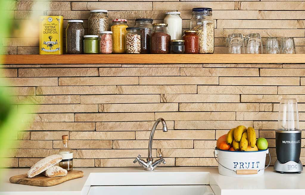 mattoni vista cucina sopra lavabo